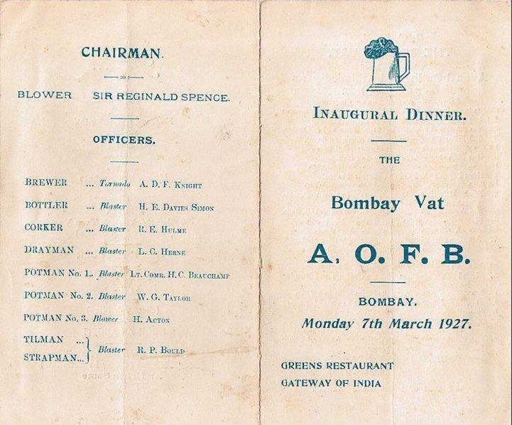 Bombay Vat menu cover