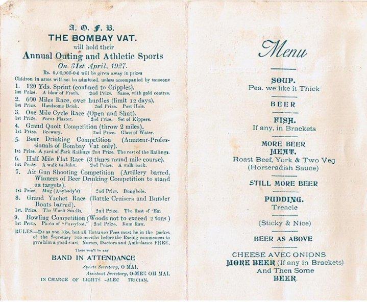 Bombay Vat menu - inner pages