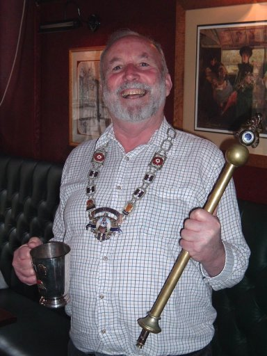 F.O.F.B. Chris Harding with Chairmans Chain and ceremonial Piffle Snonker