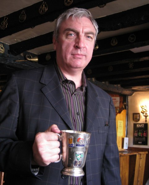 FOFB Chris 'Jackets' Murray - with the Grail - Berts tankard