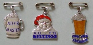 Blaster, Tornado and Monsoon badges - actual size
