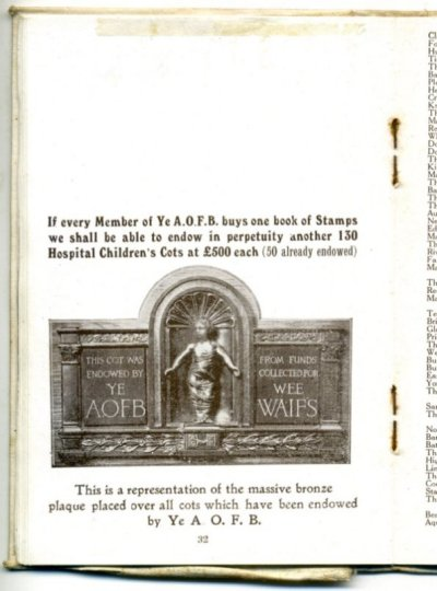 Page featuring the cot plaque from the Membership book