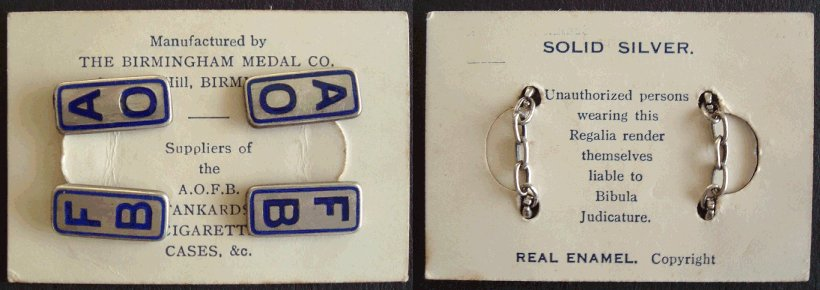 A.O.F.B. cufflinks on card
