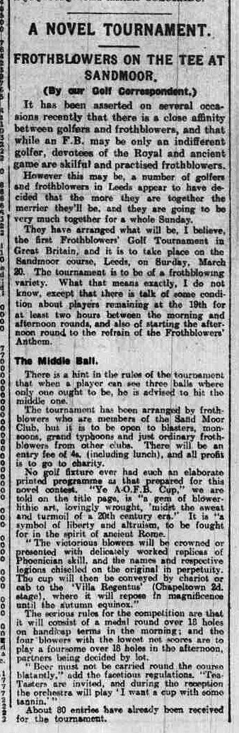 Newspaper clipping from the Yorkshire Evening Post on the Golf competition